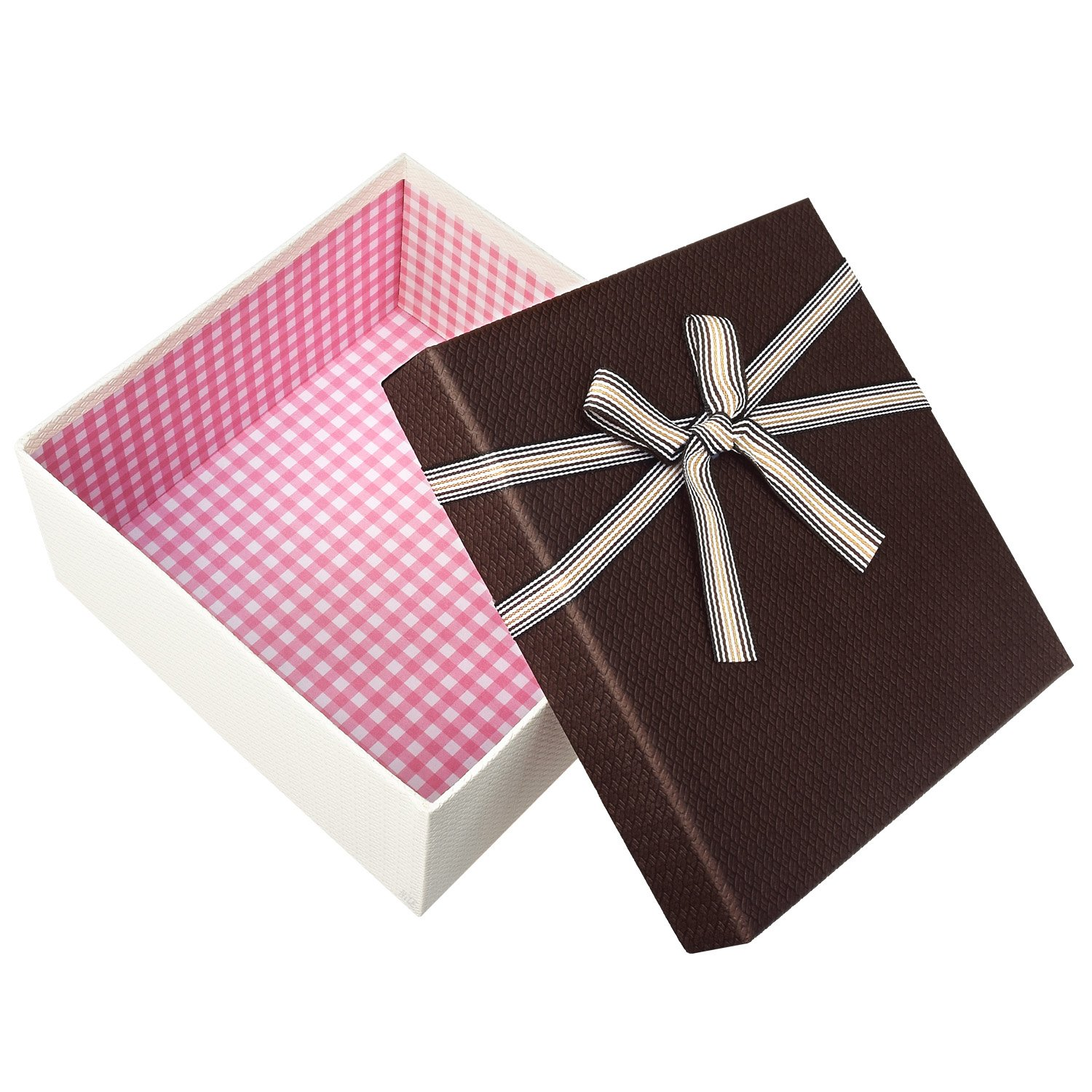 Square Nesting Gift Boxes, A Set of 3,Brown Color with A Bowtie by Ikee Design (Image #6)