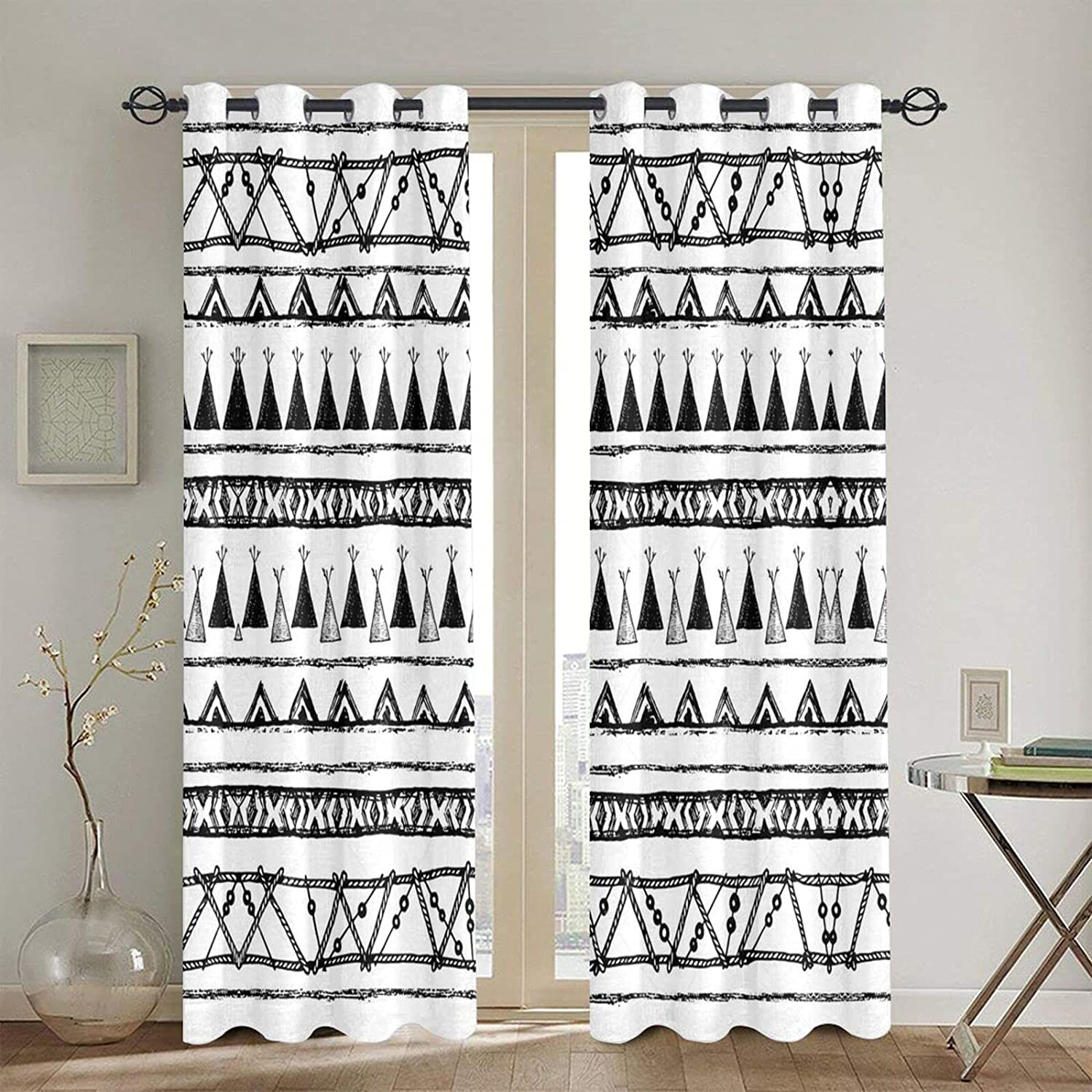 Curtain Native American Patterns Print Drapes, Thermal Insulated Blackout Privacy Protection Window Curtain Panels for Living Room and Bedroom (2 Panels, 52 X 84 in)