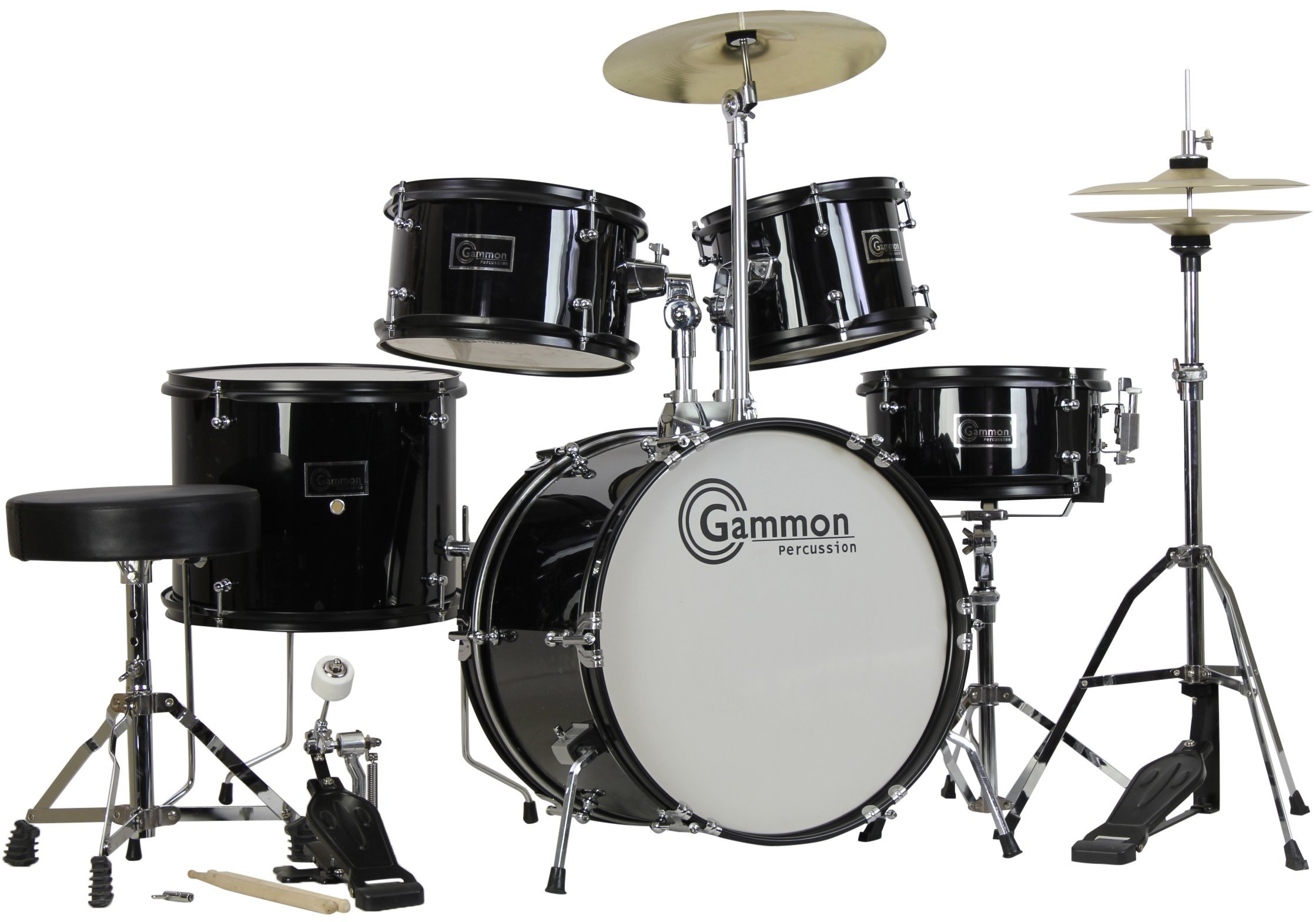 Gammon 5-Piece Junior Starter Drum Kit with Cymbals, Hardware, Sticks, & Throne - Black (Renewed) by Gammon Percussion