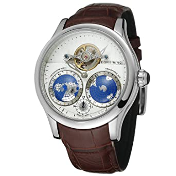 FORSINING Mens Brand Automatic Movement Stainless Steel Case World Map Dial Wrist Watch FSG9413M3S2