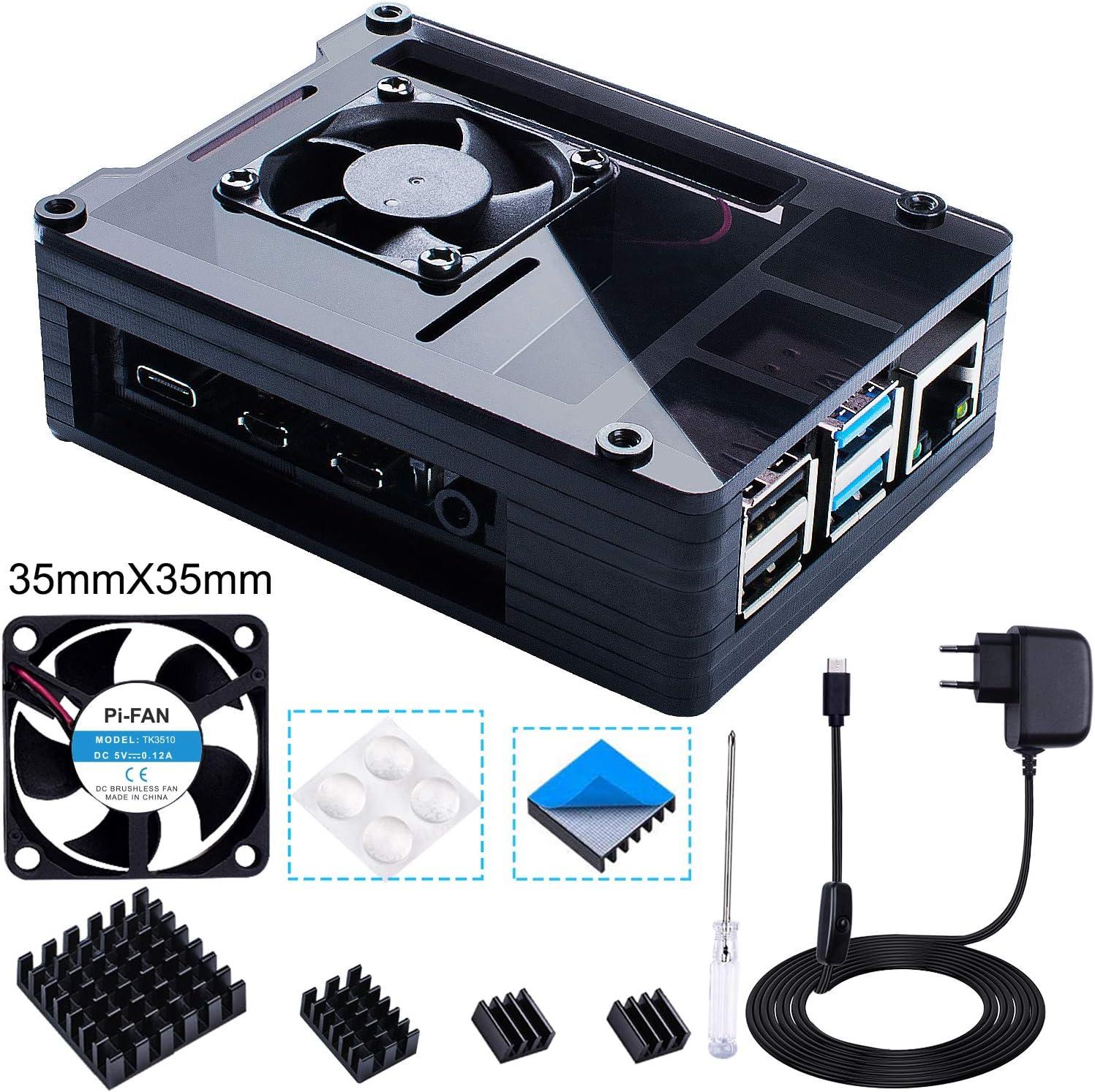 5V 3A USB-C Netzteil Gro/ß L/üfter + Gro/ß K/ühlk/örper Kompatibel mit Raspberry Pi 4 Modell B -Schwarz Bruphny Geh/äuse f/ür Raspberry Pi 4 mit 35mm L/üfter 4 /× Aluminium K/ühlk/örper