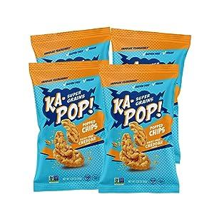 Ka-Pop! Popped Chips, Vegan Cheddar (3.25oz, Pack of 4) - Allergen Friendly, Sorghum, Gluten-Free, Paleo, Non-GMO, Whole Grain Snacks, As Seen on Shark Tank