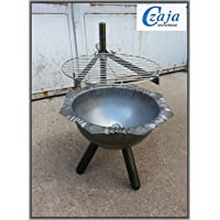 Schwenkgrill silber Stahl XXL Swing Grill Garten ✔ rund dreieckig ✔ schwenkbar ✔ Grillen mit Holzkohle ✔ mit Dreibeinen