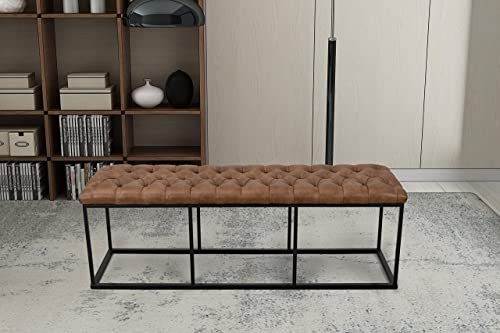 HomePop Faux Leather Button Tufted Decorative Bench