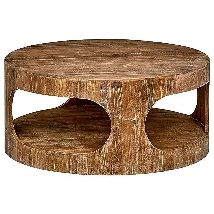 Amazon Com Big Round Coffee Table Rustic Farmhouse Style Simple