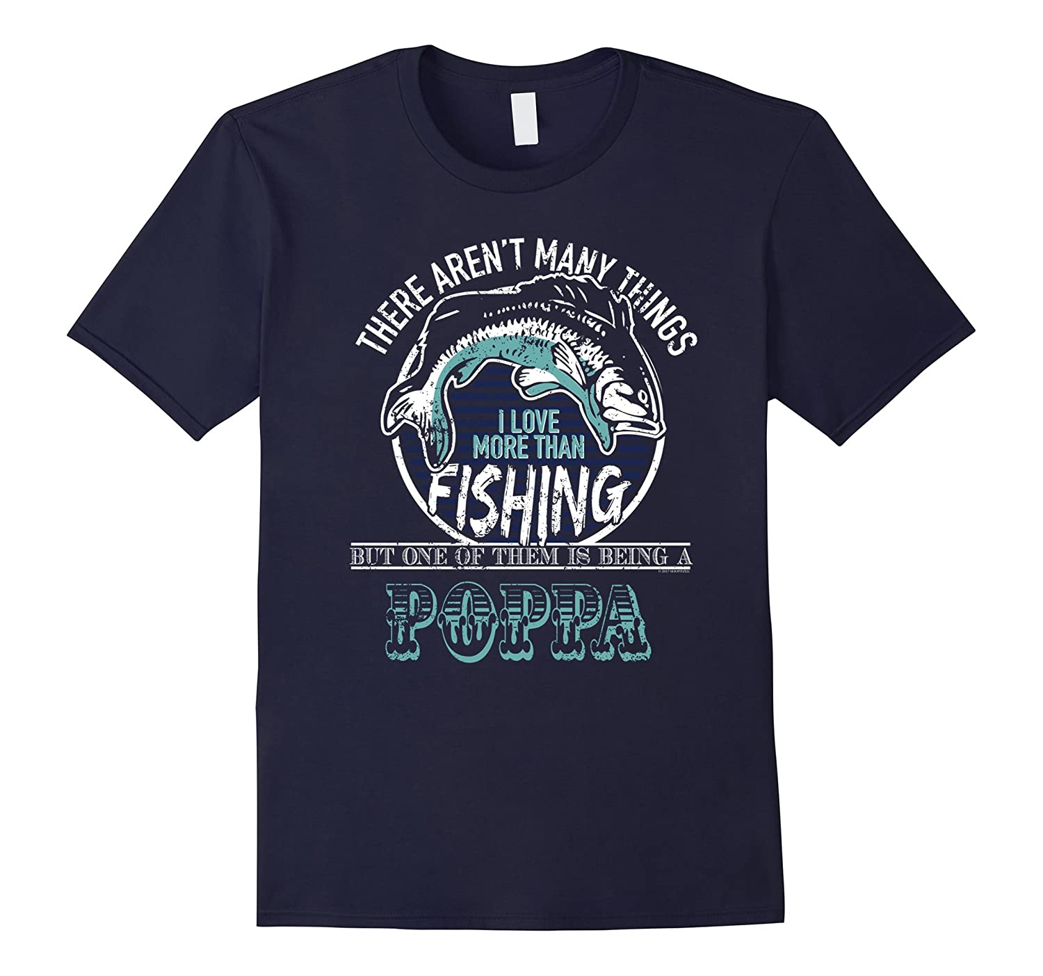 Mens Fishing And Being Poppa Funny Bass Fishing T Shirt-TH