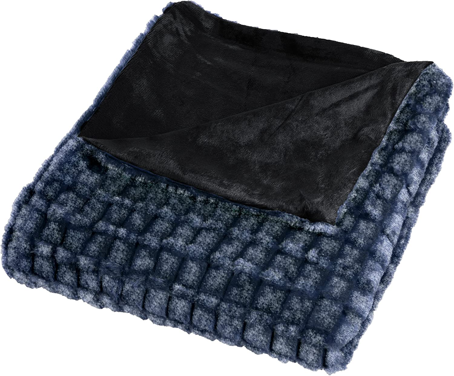 Lavish Home Plush Striped Embossed Faux Fur Mink Throw, Black/Grey
