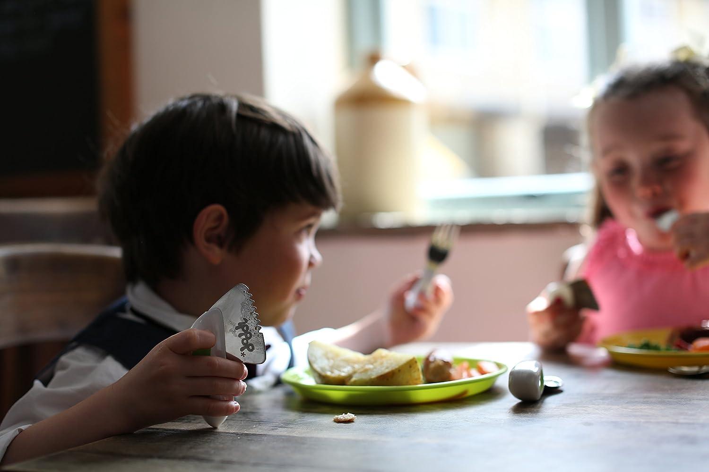 Ayuda a que tu beb/é o ni/ño aprenda a comer solo con facilidad y a usar los cubiertos de forma correcta. tenedor y cuchara Doddl Juego de cuchillo azul ar/ándano Para beb/és o ni/ños a partir de 12 meses +