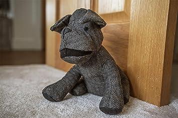 Decorative Dog Door Stopper Animal Wedge Black