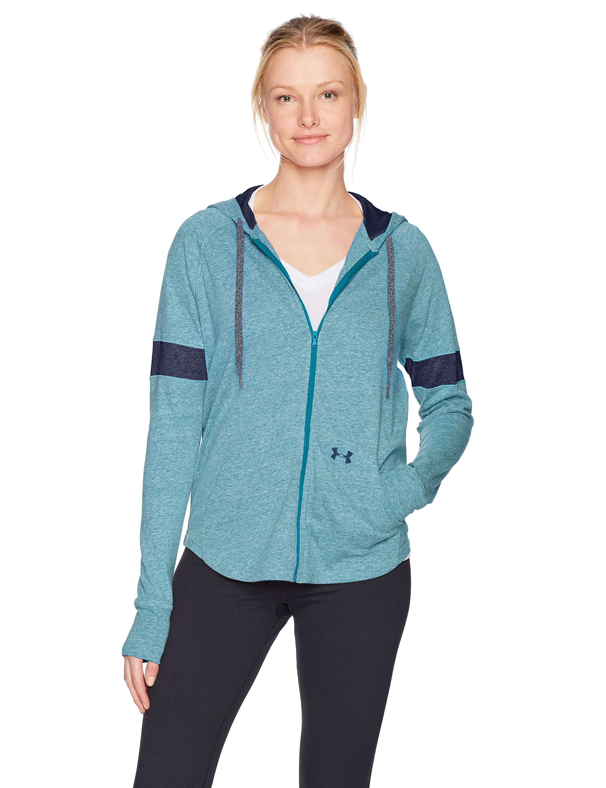 Under Armour Women's Sportstyle Full Zip Hoodie, Bayou Blue (953)/Midnight Navy, X-Small by Under Armour