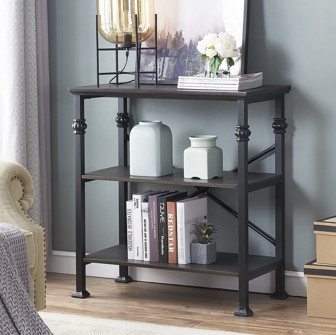 O&K Furniture 3-Shelf Industrial Wood and Metal Bookcase, Etagere Bookshelf for Living Room, Black-Espresso