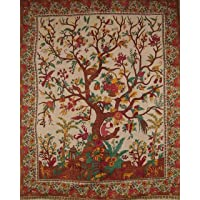 """India Arts Tree of Life Tapestry Cotton Bedspread 108"""" x 88"""" Full-Queen Beige"""