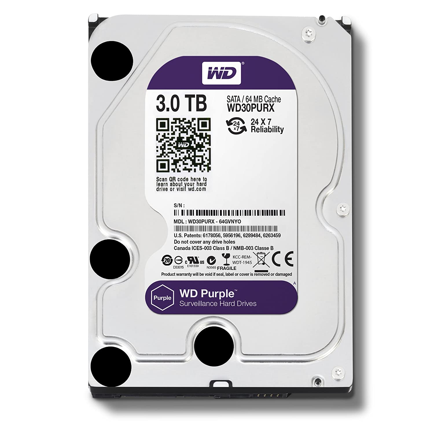 WESTERN DIGITAL 3TB SECURITY HARD DISK DRIVE WD PURPLE SURVEILLANCE HDD, REPAIRED UNIT