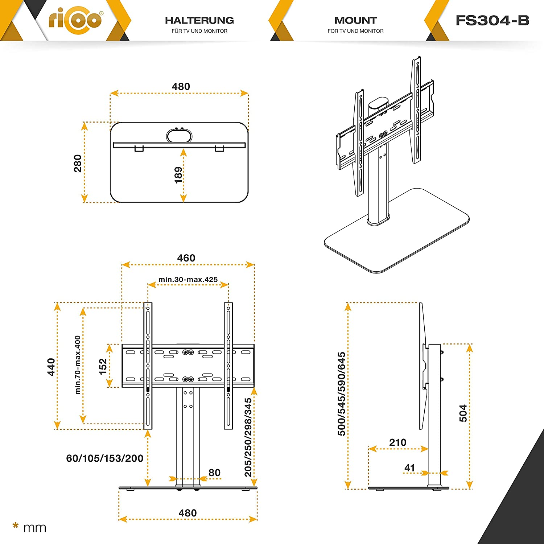 RICOO Meuble TV Design FS304B Support sur Pied en Verre Suspension LED LCD Plasma QE OLED 3D 4K Smart Socle de Tele /écran Suspendu Original t/él/éviseurs Rack VESA 400x400 Universel Hauteur r/églable