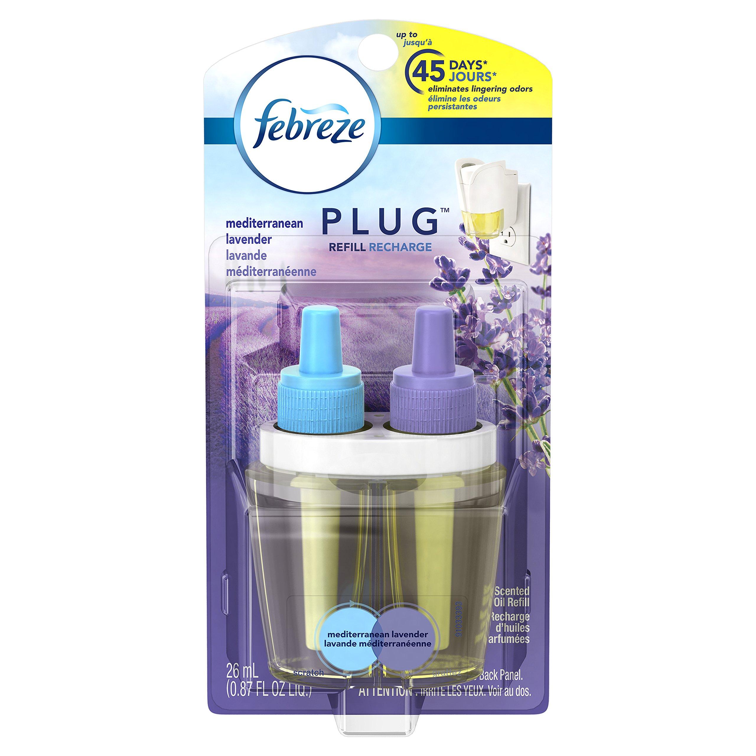 Febreze Air Freshener, Noticeables Air Freshener, Mediterranean Lavender Single Oil Refill Air Freshener, (1 Count, 0.87 Oz)