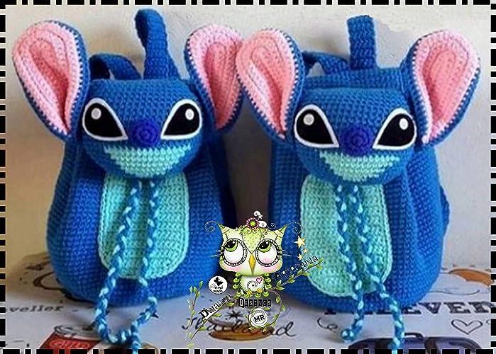 Mochila STITCH PERSONALIZABLE (Bebé, crochet, ganchillo, muñeco, peluche, niño,