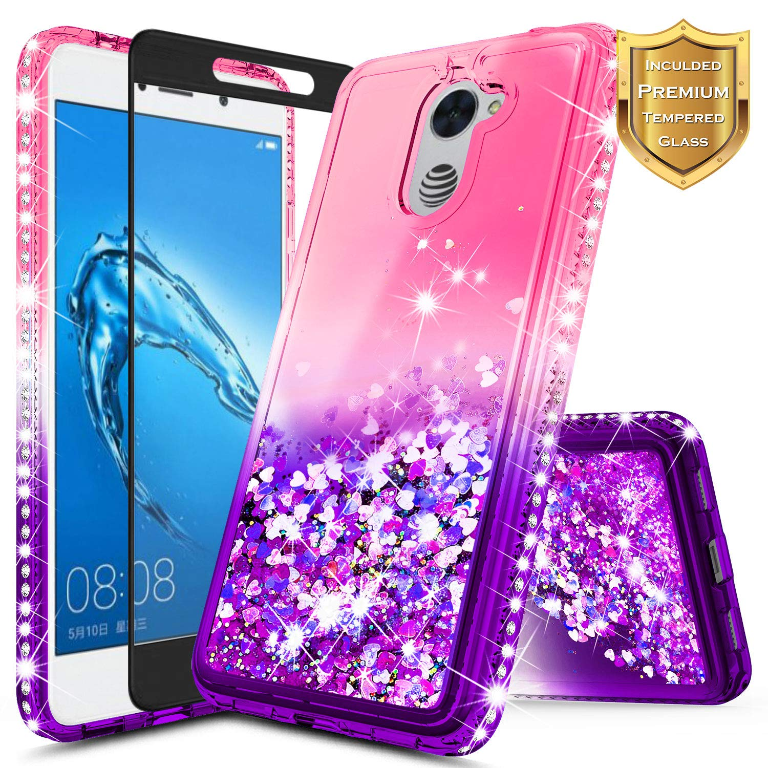 NageBee [Glitter] Case Compatible with Huawei Ascend XT 2 (H1711) /Huawei Elate 4G LTE w/[Tempered Glass Screen Protector] Liquid Quicksand Waterfall Flowing Sparkle Shiny Diamond Case -Pink/Purple