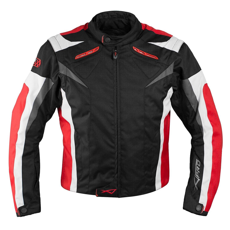 Giacca Tessuto Moto Protezioni CE Manica Staccabile Gilet Termico Rosso XXL