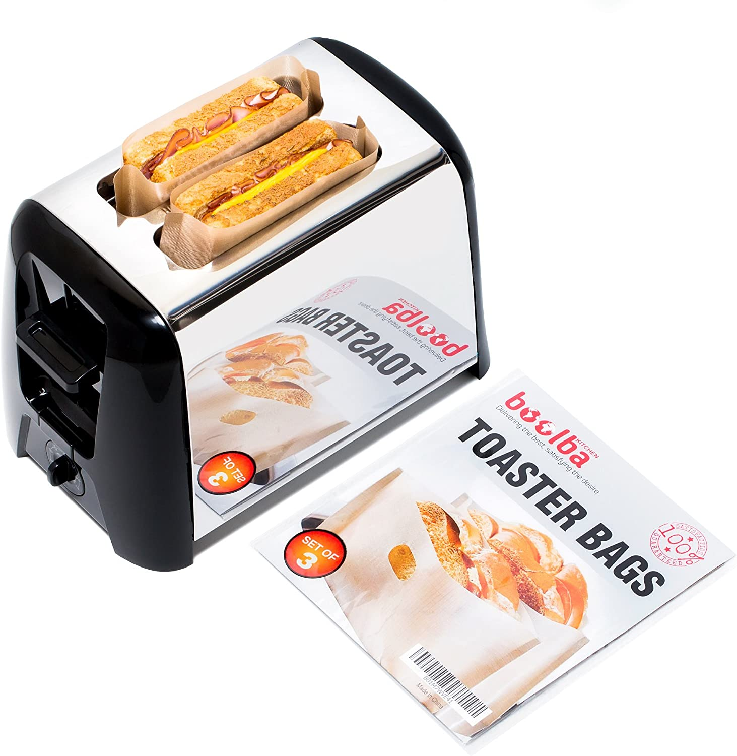 Toaster Bags (set of 3)   Grilled Cheese Made Easy   Non Stick Reusable Easy to Clean   Perfect For Sandwiches Hot Dogs Chicken Fish Vegetables Panini & Garlic Toast