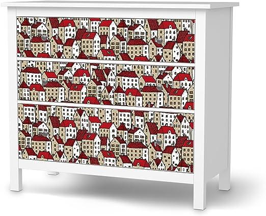 Ikea Hemnes Cassettiera Rossa.Cassettiera 3 Cassetti Pellicola Ikea Hemnes Design Adesivo City