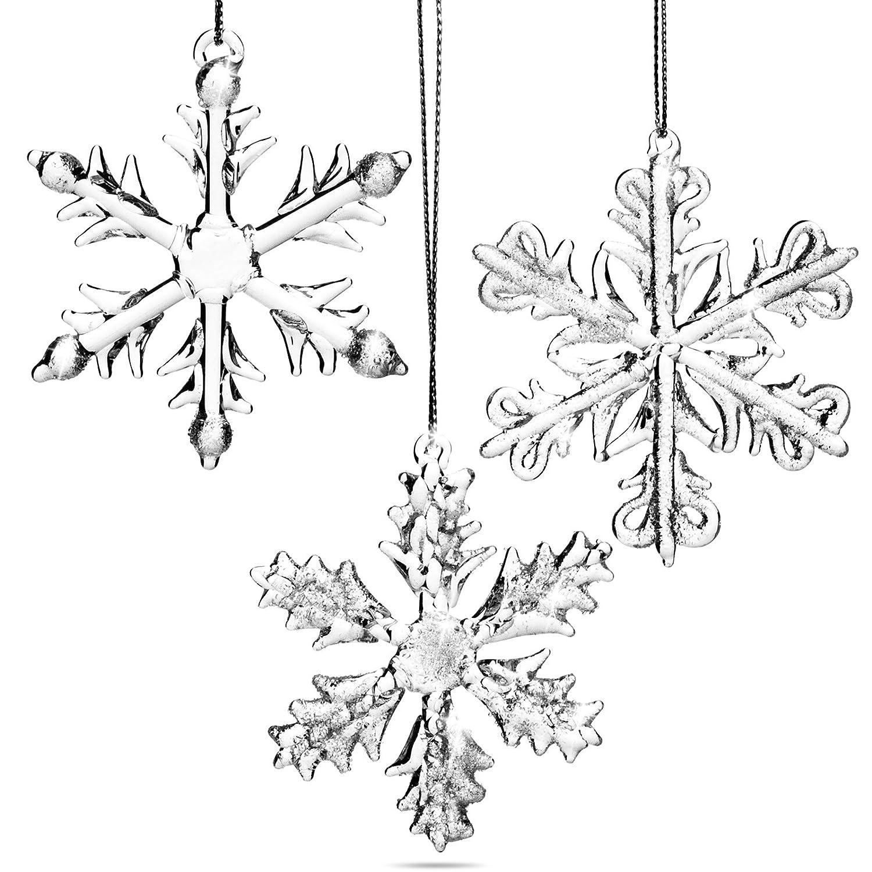 SIKORA BS232G Décorations de noël en verre soufflé - Cristaux étoiles - Set de 3 - Hauteur 7 cm SIKORA Weihnachtswelt