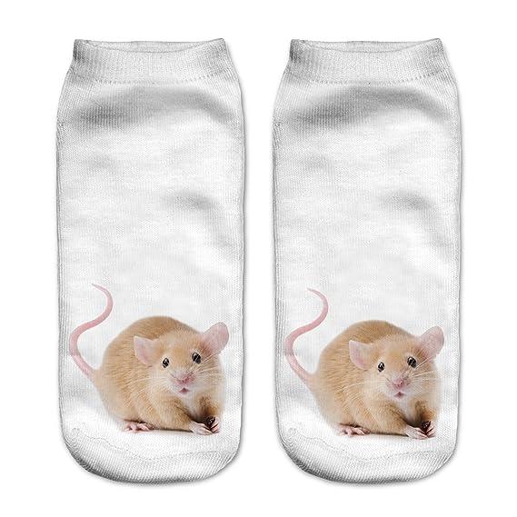 Calcetines tobilleros, de Fringoo, divertidos, para niños y adolescentes Beige Mouse 18-22: Amazon.es: Ropa y accesorios