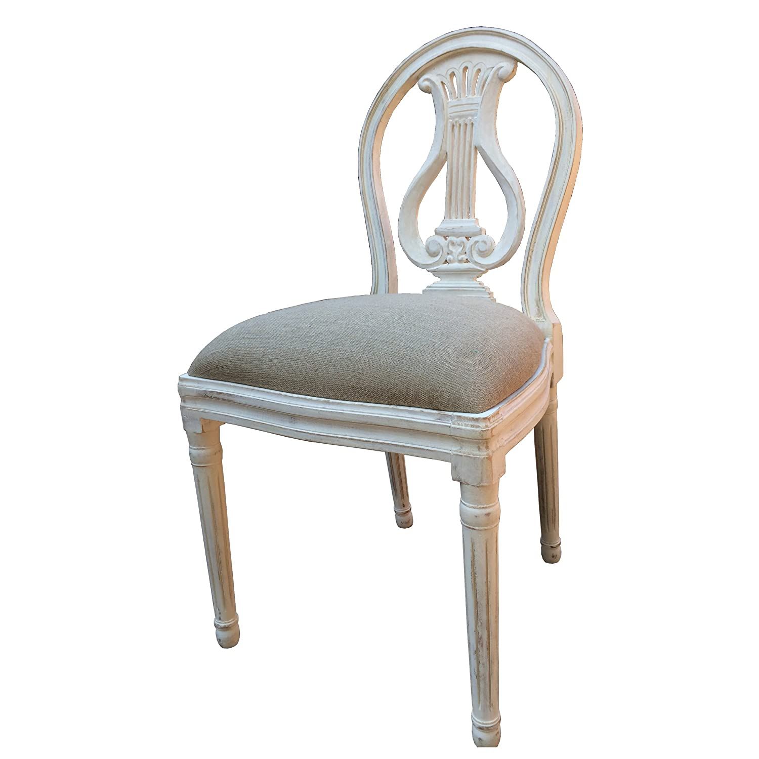 A French Style Shabby Chic Dining Chair in White Distressed Finish ...