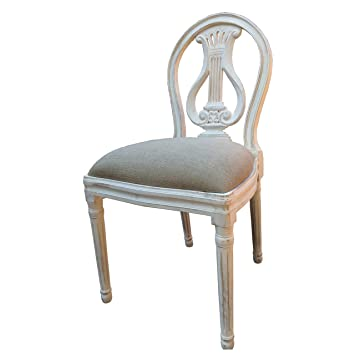 A French Style Shabby Chic Dining Chair In White Distressed Finish