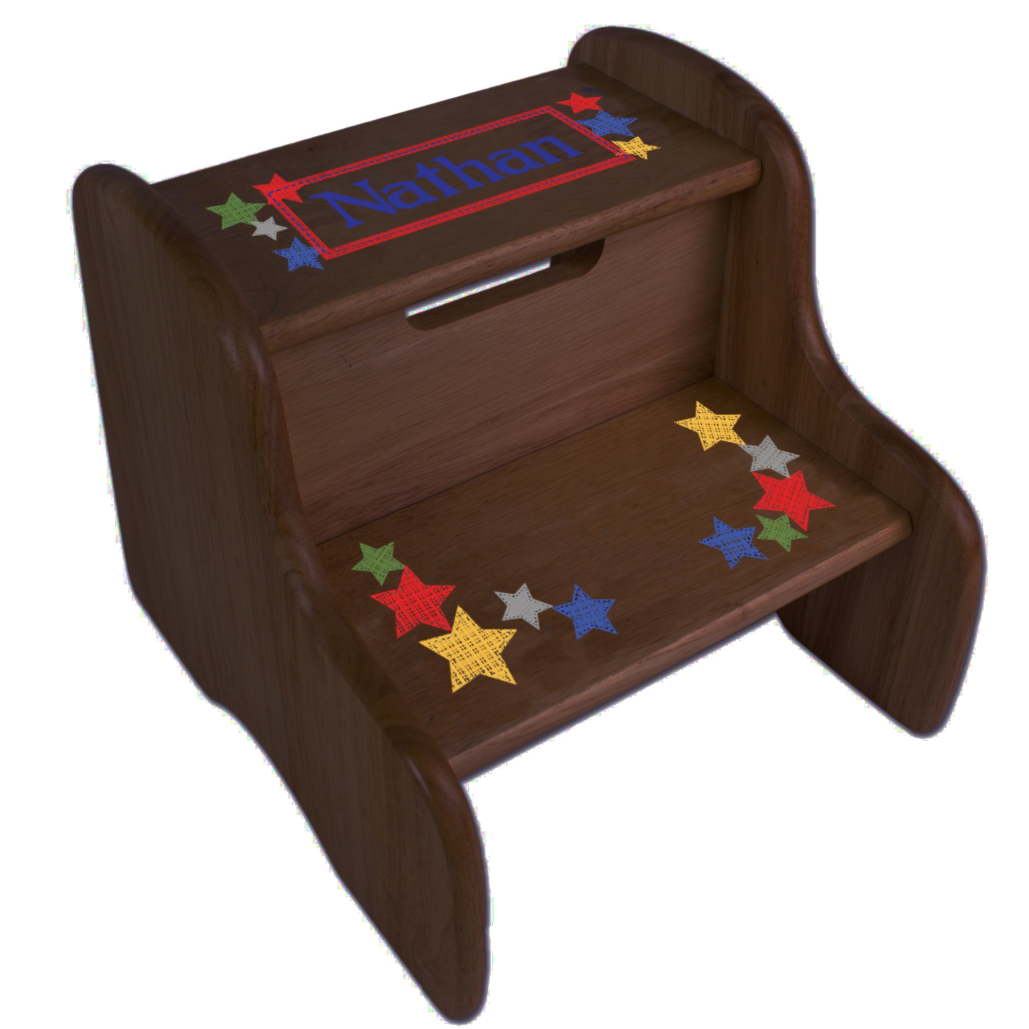Personalized Stitched Stars Espresso Two Step Stool