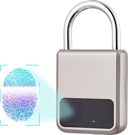 Fingerprint Padlock One Touch Unlock Portable USB Rechargeable Anti Theft School Lock Elegant Black for Gym Suitcase Backpack Luggage Door Office Outdoor Smart Biometric Thumbprint Keyless Lock