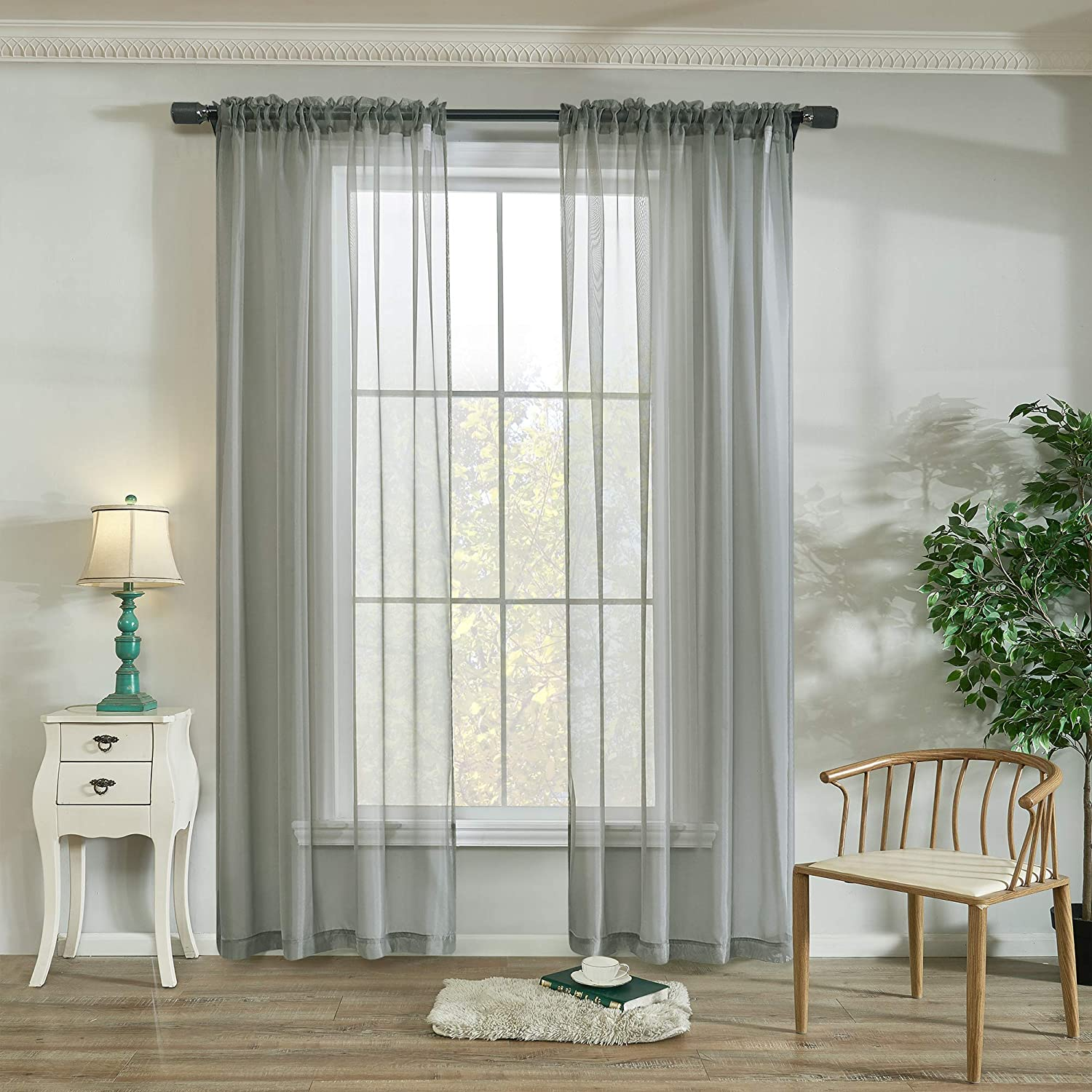 """2Pc Sheer Voile Window Curtain Solid White Bedroom Living Room Panel Drape """"84"""