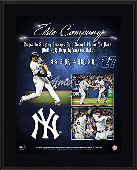 0a0c4f3fd06 Image Unavailable. Image not available for. Color  Giancarlo Stanton New  York Yankees 10.5 quot  x 13 quot  Yankees Debut Sublimated Plaque ...