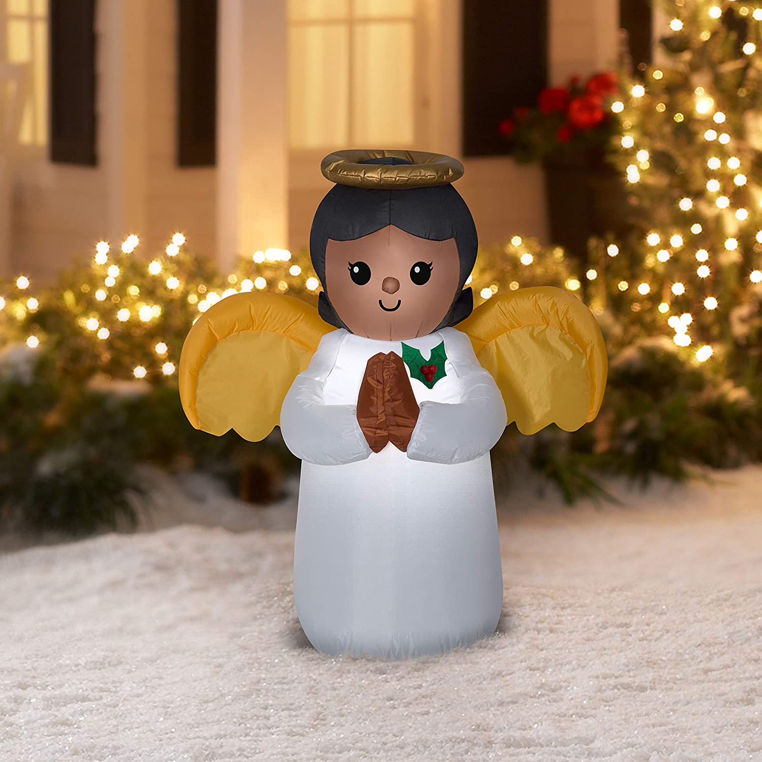 Christmas African American Angel Inflatable Holiday Decoration 3.5 ft with Inflatable Care Guide Legendary Holiday