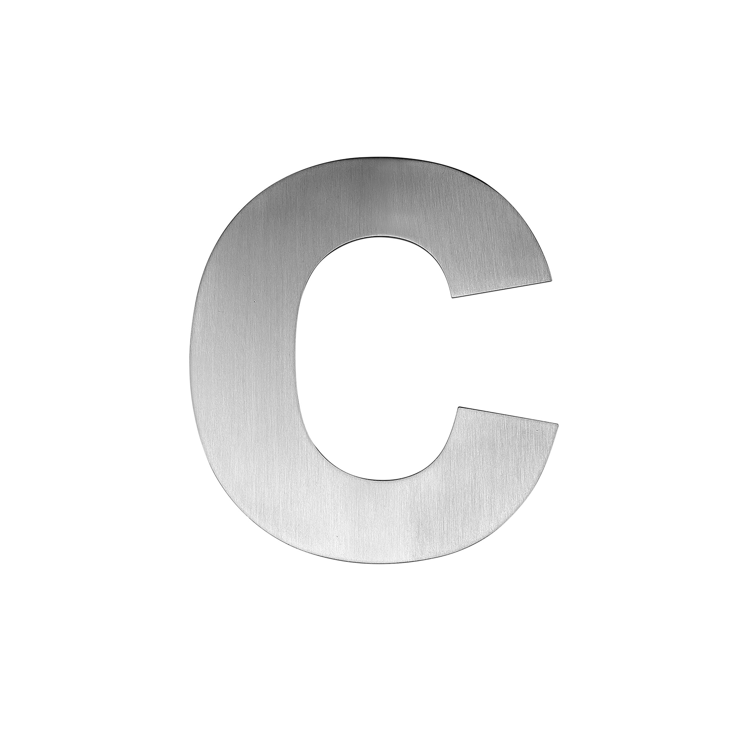 QT Modern House Number - EXTRA LARGE 7.5 Inch - Brushed Stainless Steel (Letter c), Floating Appearance, Easy to install and made of solid 304