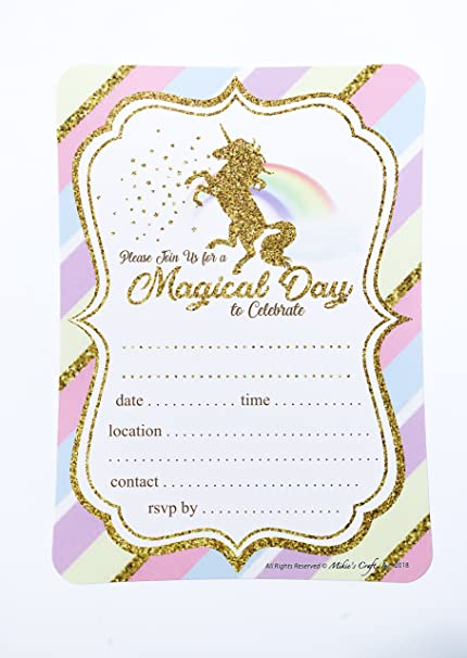 amazon com 24 count magical day unicorn party invitations gold