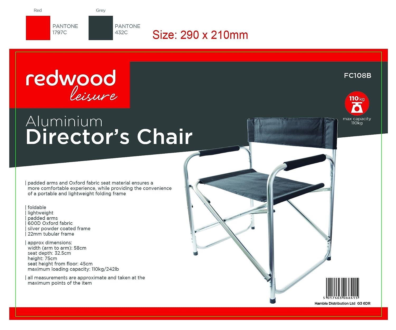 Redwood Silla Plegable BB-FC108 Estilo Director, Aluminio ...