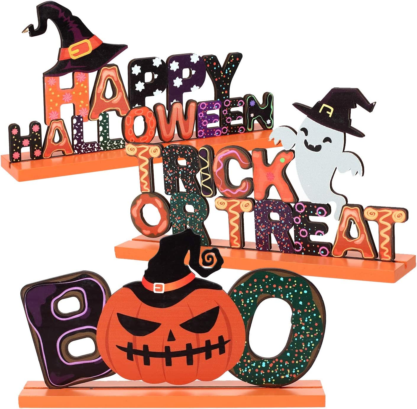 Amazon Com Anphsin Set Of 3 Happy Halloween Wooden Centerpiece Signs Trick Or Treat Table Toppers Table Signs With Witch Hat Goast Pumpkin Shaped Ornaments For Halloween Party Table Top Decoration Home