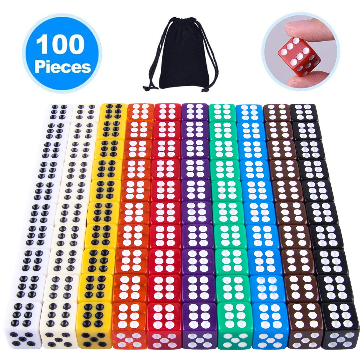 AUSTOR 100 Pieces 6 Sided Game Dice Set 12mm Square Corner Dice with a Free Pouch by AUSTOR