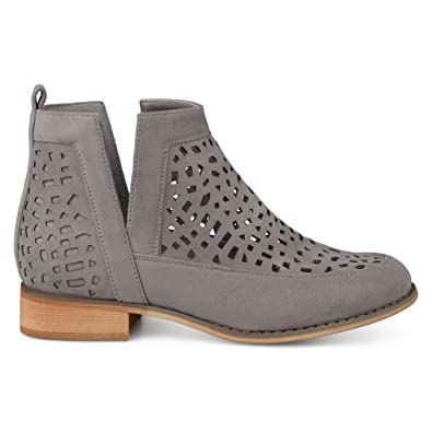 Womens Faux Suede Geometric Laser Cut Side Split Stacked Wood Heel Booties