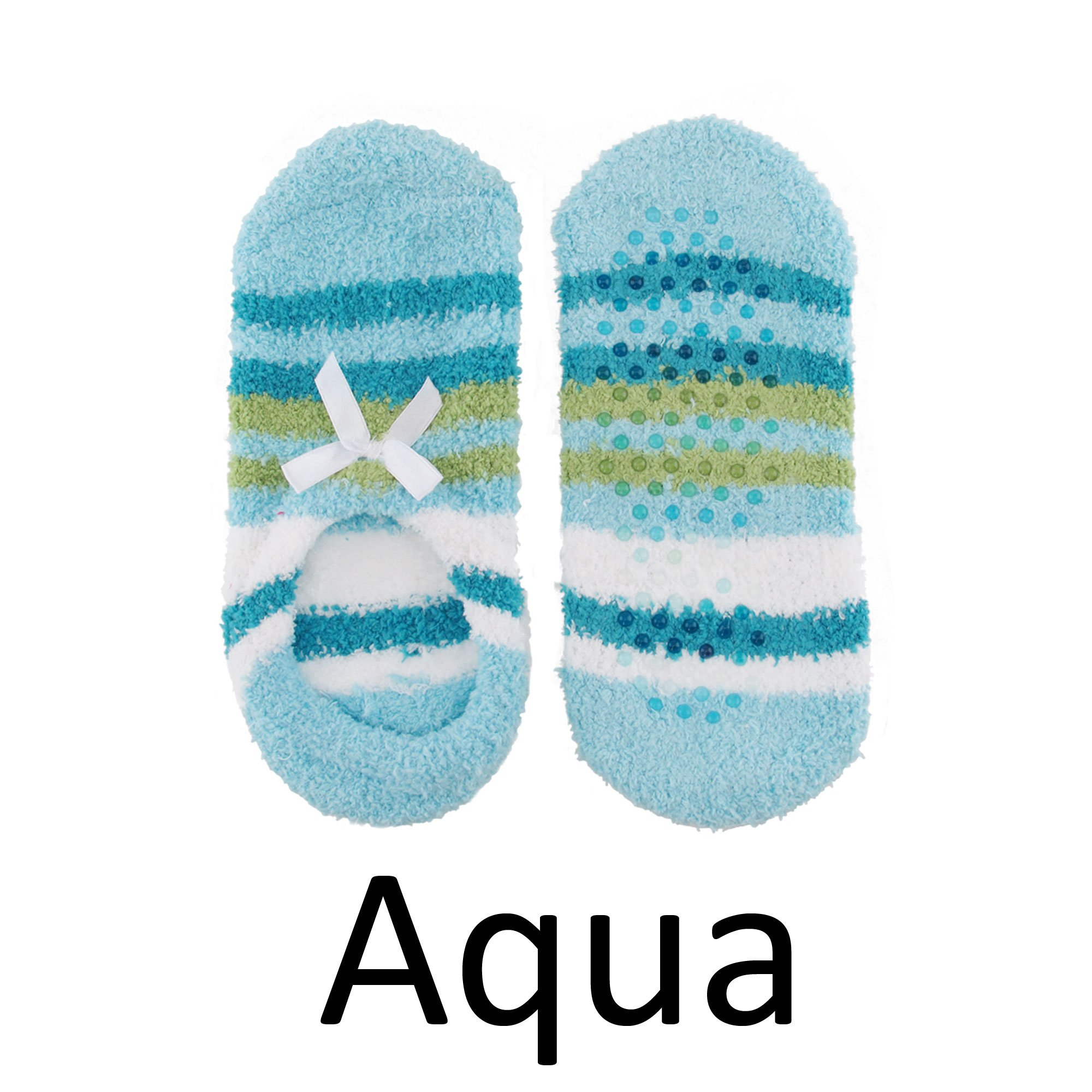 Super Soft Warm Microfiber Travel Low Cut Footsie Slipper Socks, Aqua - 3 Pairs