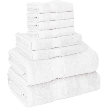 Utopia Towels 8 Piece Towel Set, 700 GSM, 2 Bath Towels, 2 Hand Towels and 4 Washcloths, White