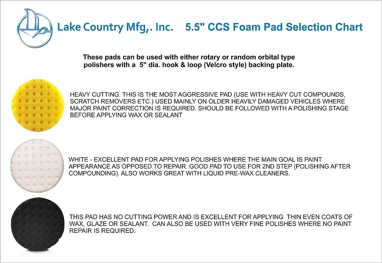 Lake Country 5.5 Foam Buffing Polishing /& Waxing Pads Set of 3
