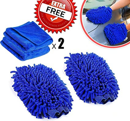 Aloud Creations Combo Set for Car Cleaning, Kitchen, Bike, laptop, LED TV, Mirrors and Furniture (2 in 1), Microfiber Cloth (Large Size) and Microfiber Gloves, Pack of 4