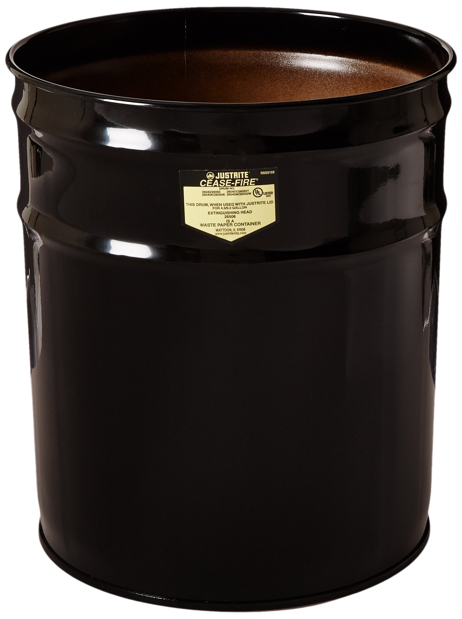 Justrite 26624K Cease-Fire Ash and Butt Receptacle with Aluminum Head and Grill Guard, 4.5 Gallon Capacity, 12-1/8'' OD x 14-1/4'' Height, Black