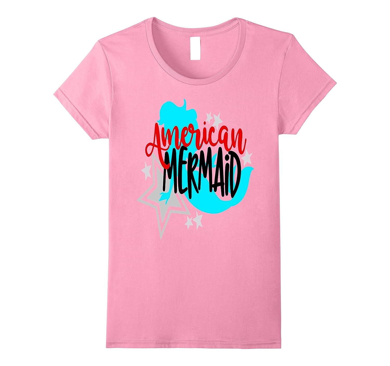 American Mermaid July 4th Shirt USA Daughter Kids Girls Mom