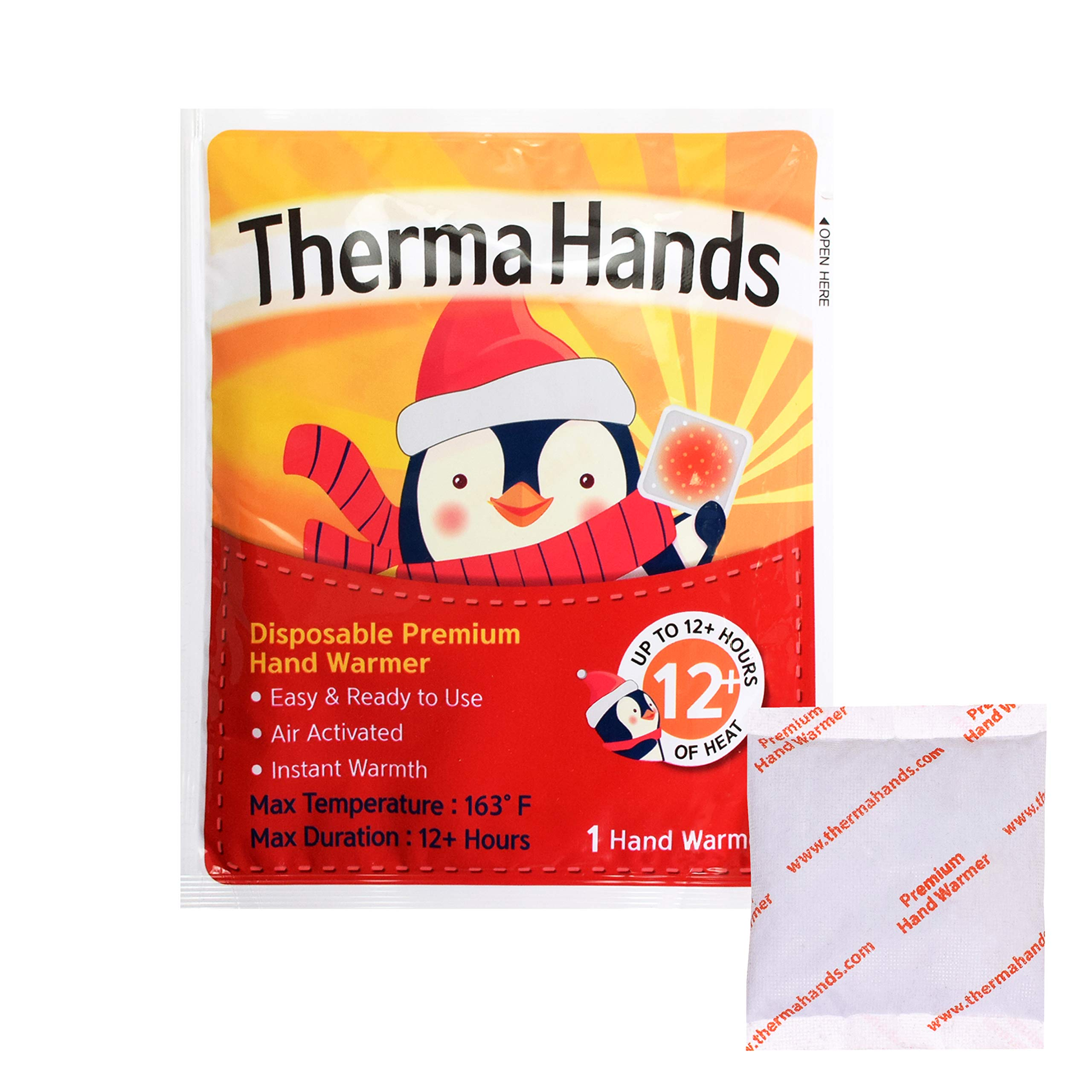 ThermaHands Hand Warmers (10 Packs) - Premium Quality (Size: 3.5 inch x 4 inch, Duration: 12+ Hours, Max Temp: 163 F) Air-Activated, Convenient, Safe, Natural, Odorless, Long Lasting Warmers