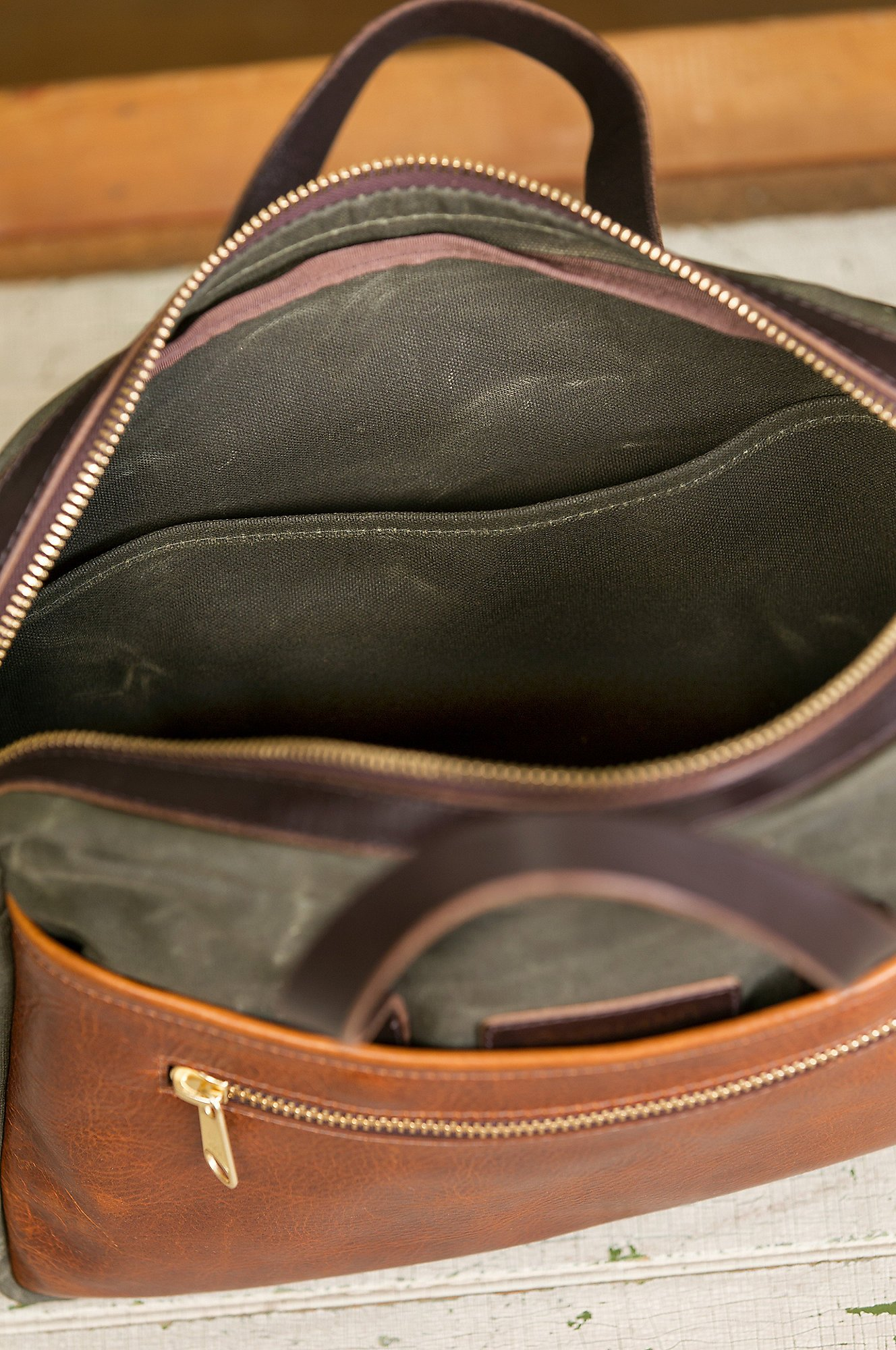 Heritage Canvas and American Bison Leather Briefcase by Overland Sheepskin Co (Image #8)
