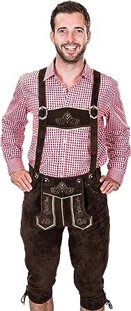 Pantalones de traje típico bávaro de cuero con tirantes, original en color marrón oscuro, Oktoberfest, talla 44, 46, 48, 50, 52, 54, 56, 58, 60: Amazon.es: Ropa y accesorios