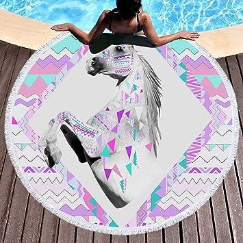 Unicornio Toalla de playa grande redondo microfibra toalla de playa playa manta Toalla Mantel de picnic pared colgantes Yoga Alfombras 150 cm 2: Amazon.es: ...