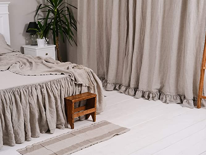 Amazon Com Linen Ruffled Curtains For Home Shabby Chic Curtain